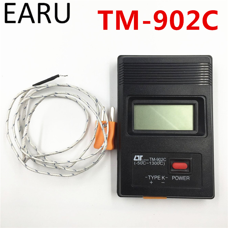 TM-902C Digital LCD Thermometer Temperature Detector Industrial Thermodetector Meter K Type Single Input + 1m Thermocouple Probe portable k type thermocouple probe thermometers digital thermometer temperature measurement meter 50 1350 c