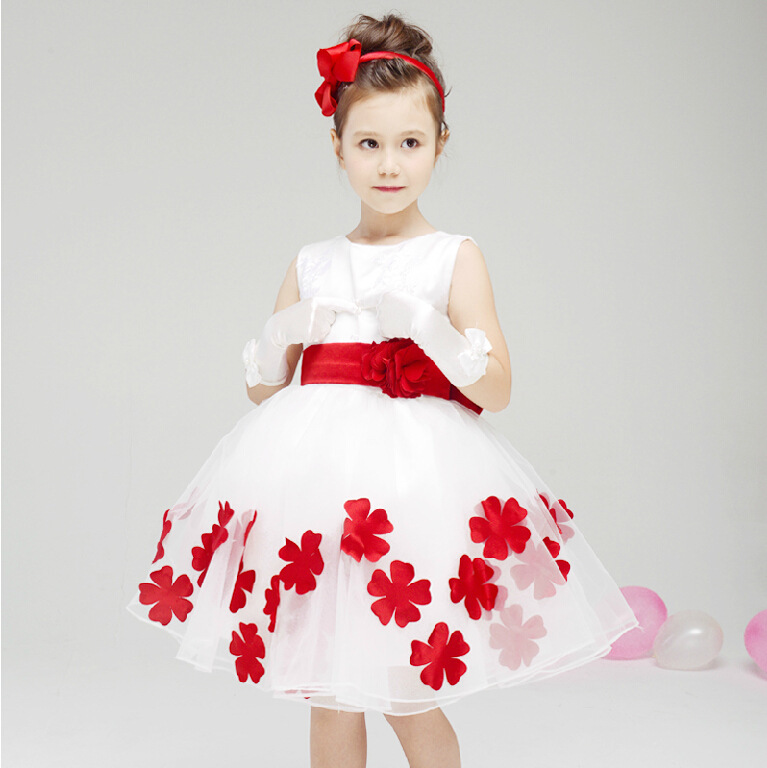 50ae086494f71d New 2015 Girl Party Dress Baby Pageant Dress Girls White Pink Flower Dresses  Girls Sleeveless Cute Bow Princess Dress Age 1-6T
