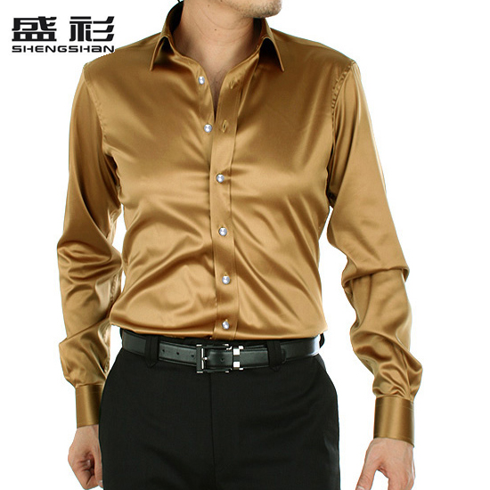 men Shirts male shirt solid color fashion gold silk silks and male ...
