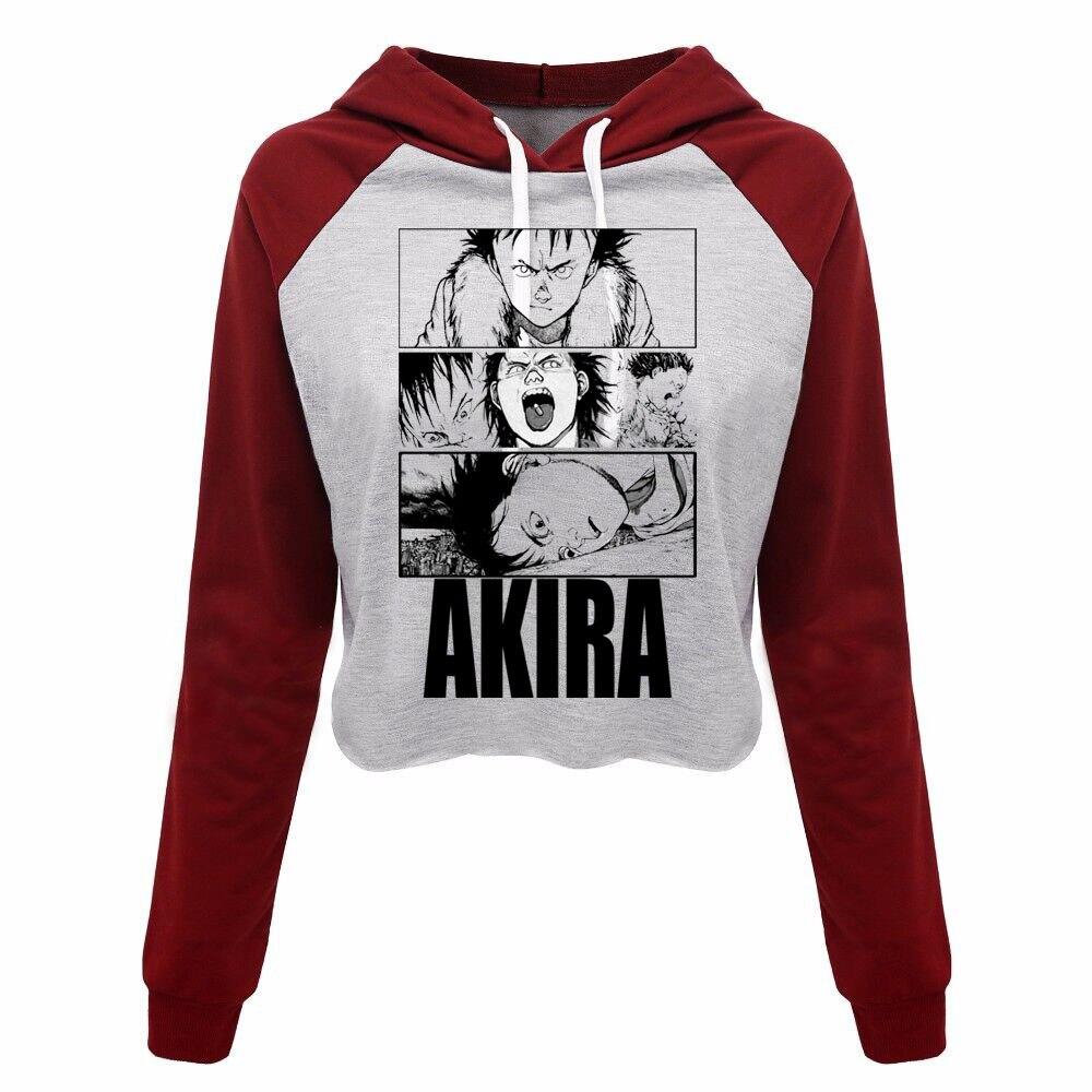 Japan fight, Kaneda, Anime akira Women's Crop Top Hooded Hoodie Sweatshirts Cartoon, Classic Japanimation samurai Cropped hoody