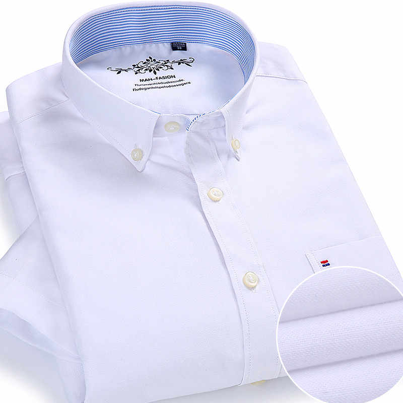 夏オックスフォードコットン男性シャツ半袖白社会シャツカジュアル固体正式な快適ボタンダウン公式作業ドレスシャツ