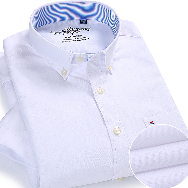Summer Oxford Cotton Men Shirt Short Sleeve White Social Shirt Casual Solid Formal Comfort Button-down Official Work Dress Shirt