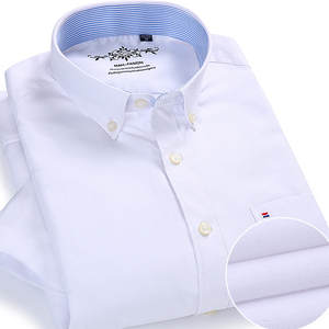 Dress Shirt Short-Sleeve Official-Work Oxford White Formal Button-Down Casual Cotton