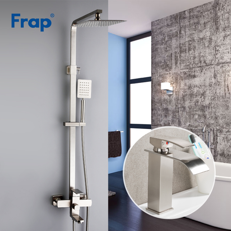 Frap New Sets Wall Mounted Stainless Ssteel Rainfall Shower Faucet Set System With Basin Faucet Square