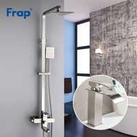 Frap nouveaux ensembles mural en acier inoxydable en acier inoxydable système de robinet de douche avec robinet de lavabo carré pomme de douche F2421 + Y10137