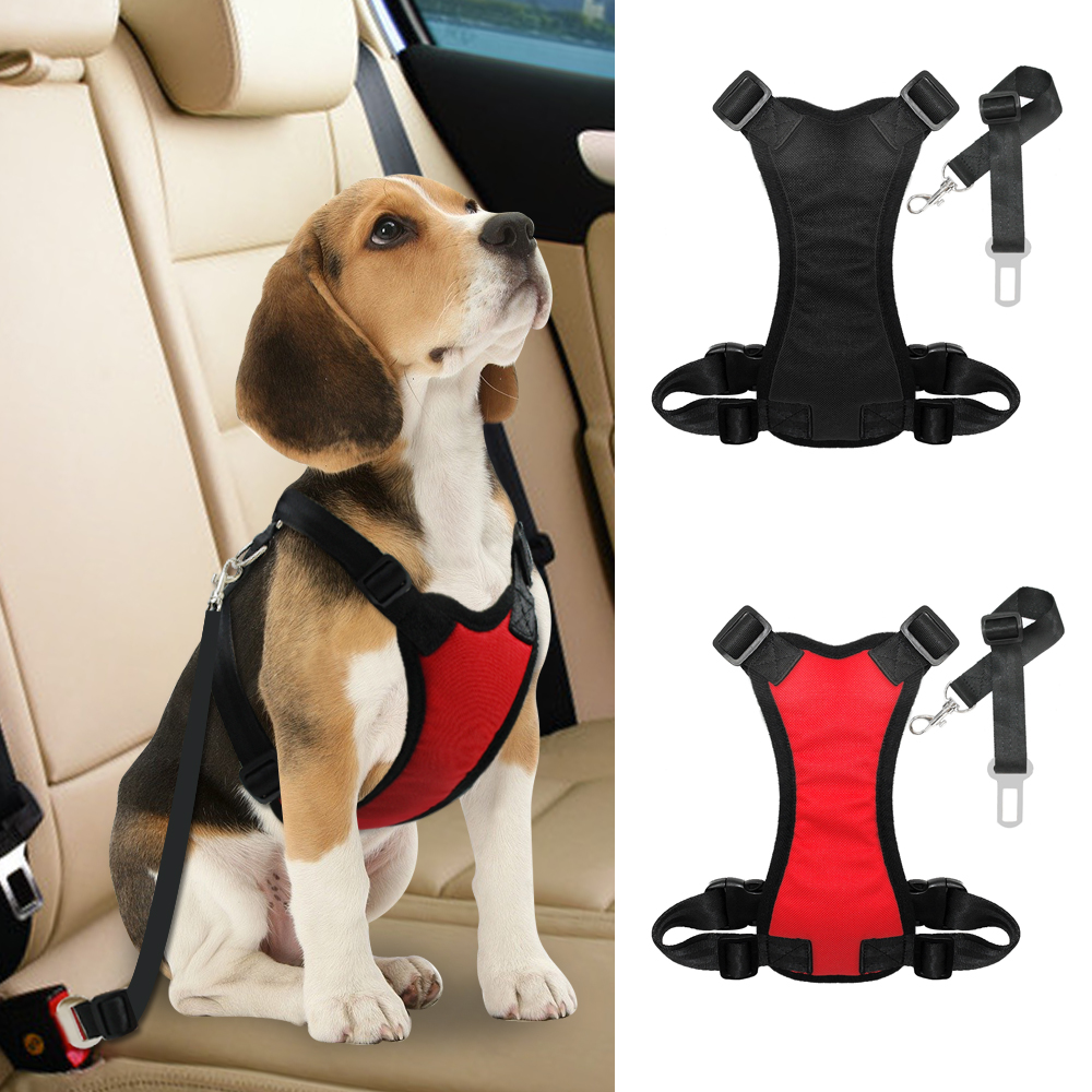 Nylon Dog Car Seat Belt Mesh Pet Dogs Safety Car Harness Soft Padded Vest Vehicle Seatbelt Lead Leash For Medium Large