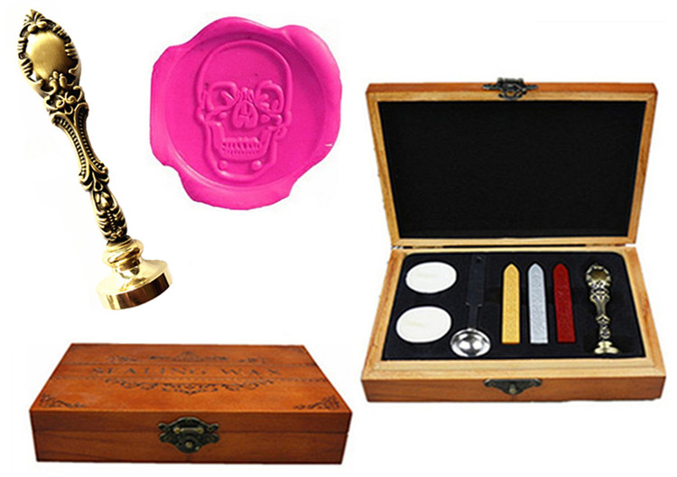 Vintage Skull Head Custom Luxury Wax Seal Sealing Stamp Brass Peacock Metal Handle Sticks Melting Spoon Wood Gift Box Set big copper spoon big large size stamp spoon vintage wooden handle brass spoon for sealing wax stamp wax stick spoon