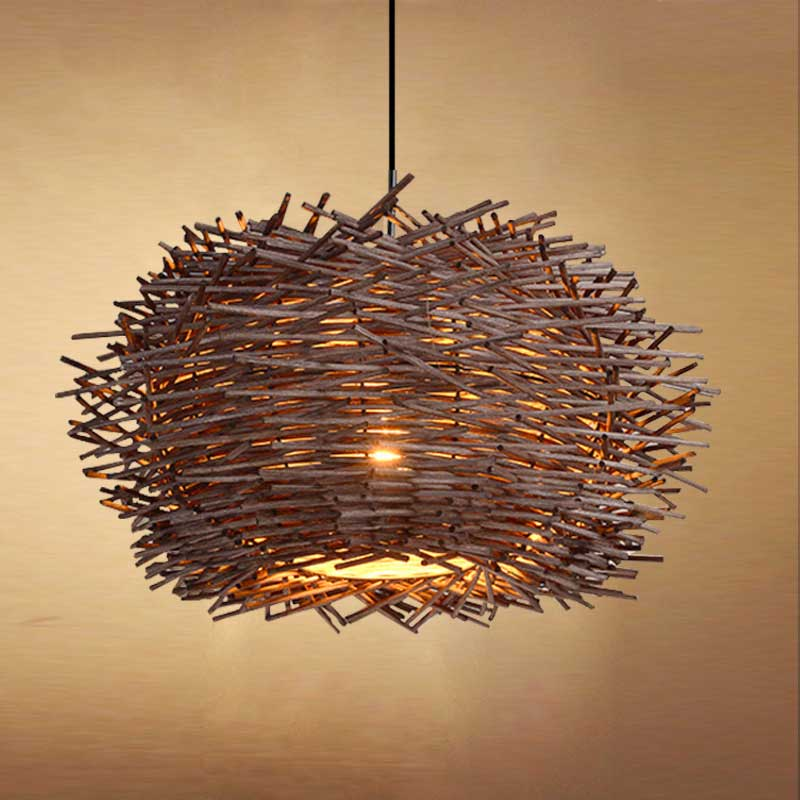 Bird S Nest Chandelier Lights Rattan Lamp With Incandescent Bulbs Creative Personality Restaurant Balcony Bar 060922 In Pendant From