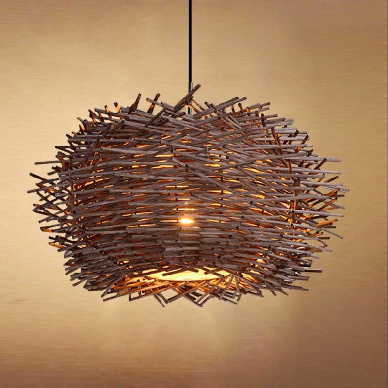 Bird Chandelier Lighting: Bird's Nest Chandelier Lights Rattan Lamp With