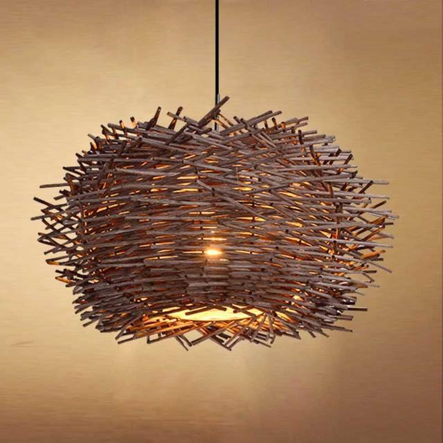 Bird S Nest Chandelier Lights Rattan Lamp With Incandescent Bulbs Creative Personality Restaurant Balcony Bar