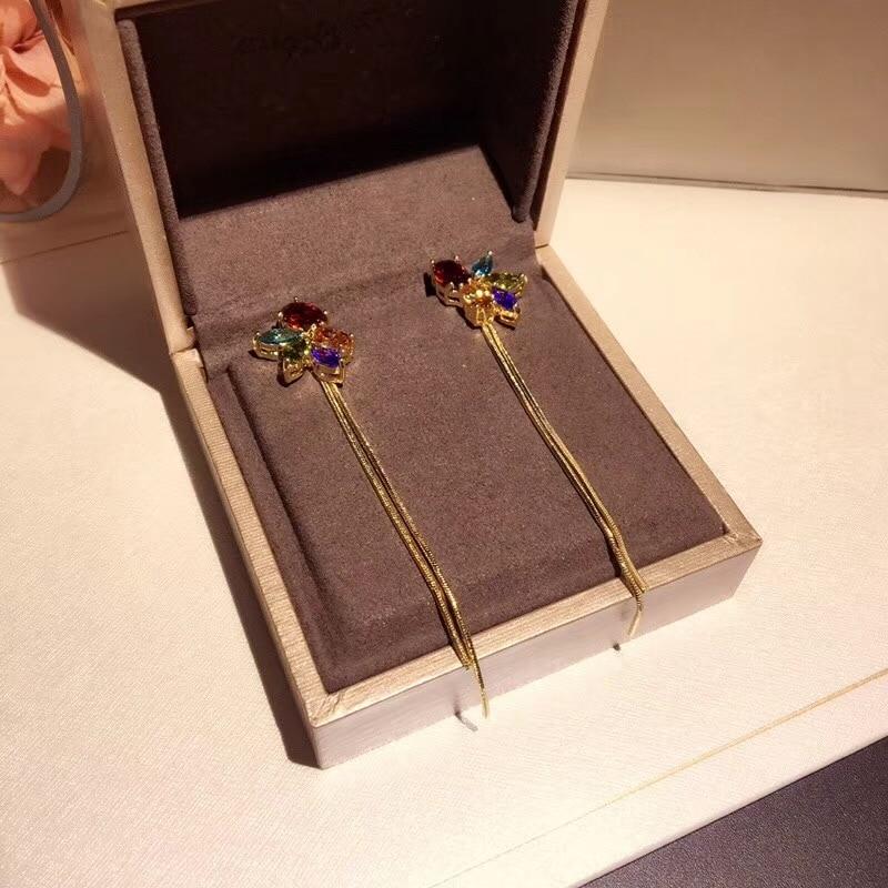 Hot Brands Pure 925 Silver Fashion Joker Jewelery Woman Hang long Earrings Geisha Dream Party High Quality Jewelry