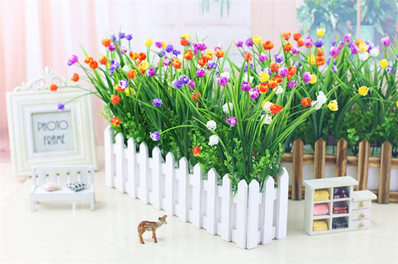 Flone Artificial Plastic Fake Flowers 35cm Small Flower Bouquet Tulip Home Living room Warm Decoration Garden Artificial Flowers (31)