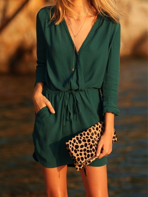 1be585da094 cainikaier 2017 Online Shop Clothing Brand Casual Women Crew Neck Aztec  Print V Back Shift Long Sleeve Loose Tunic Dress