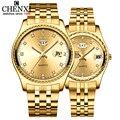 CHENXI 2 teile/satz Liebhaber Uhren Männer Goldene Quarzuhr Für Frauen Kleid Armbanduhr Top Marke Luxus Mode Lässig liebhaber Uhr-in Quarz-Uhren aus Uhren bei