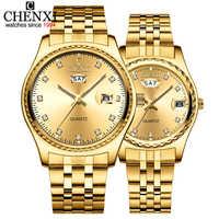 CHENXI 2Pcs/Set Lovers Watches Men Golden Quartz Watch For Women Dress Wristwatch Top Brand Luxury Fashion Casual lovers Watch