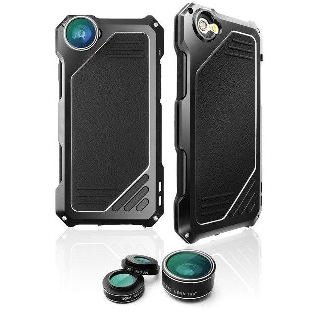 Recentes 3in1 15X Lentes 198 0.63X Fisheye olho de Peixe Grande Angular Lente Macro para iphone 5 5s 6 6 s além de 7 samsung s7 edge caixas de metal