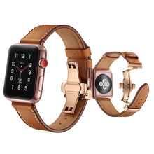 high quality leather strap for apple watch band 42mm 44mm 38mm 40mm iwatch series 4/3/2/1 Butterfly buckle bracelet belt