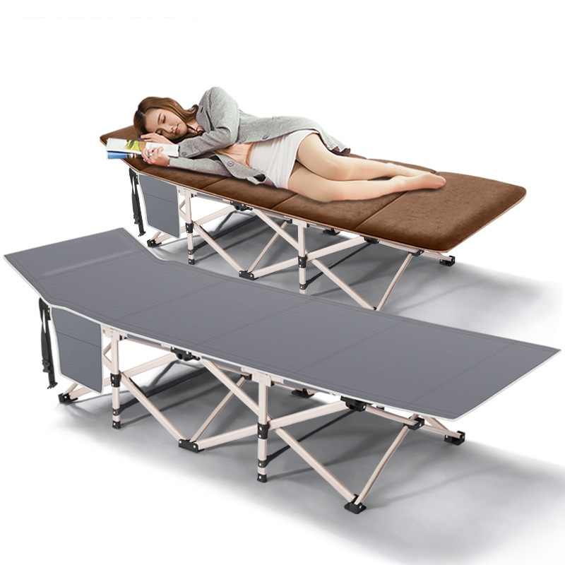 Portable Lightweight Folding Beds with Adjustable Headrest Breathable Surface Material for Outdoor Camping Home Office Nap