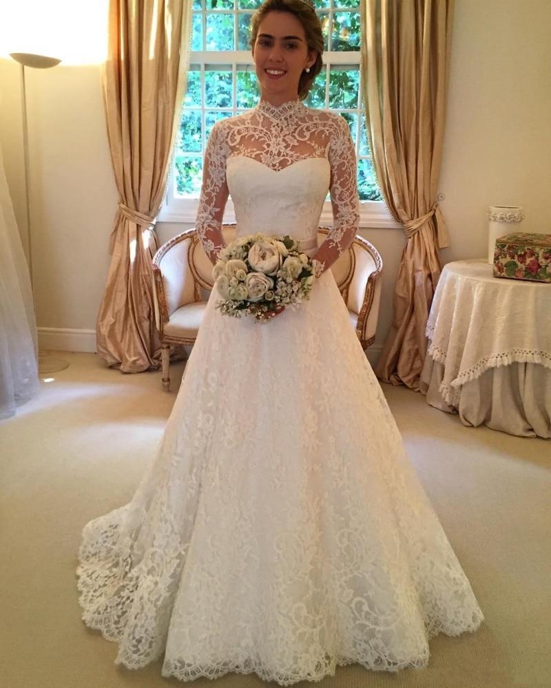 Heißer 2017 Vintage Volle Spitze Brautkleider Long Sleeve Backless ...