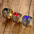 US Air Force Men's Military Rings Stainless Steel 316 IP Gold Plated Red Blue Black Stone Ring Environmental Material Lead Free