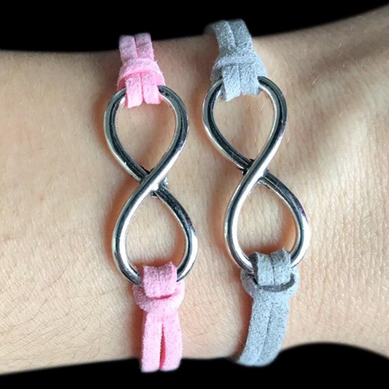 FLTMRH Fashion infinity Rope bracelet Hand-woven 12 Color silver Korean Velvet bracelet Fashion Wrap Leather Jewelry