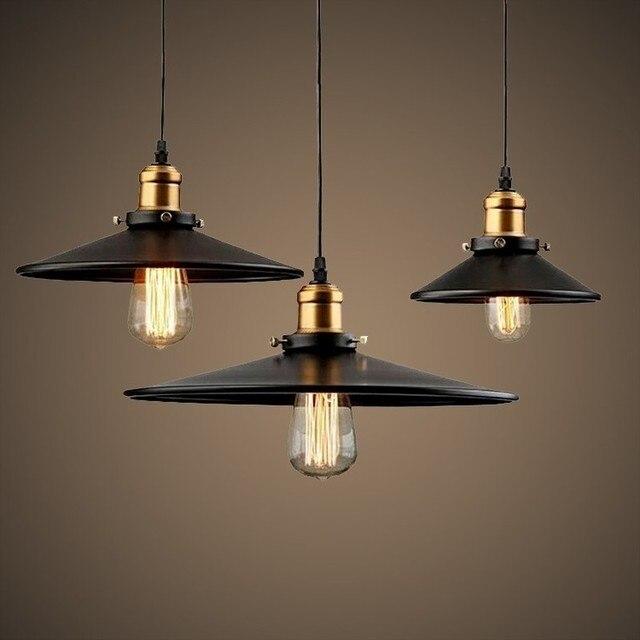 Lámpara de techo Retro luz colgante Industrial Vintage Pantalla hierro  nórdico Loft Edison lámpara para comedor LW415506