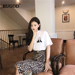 Image 4 - RUGOD Korean Sexy Leopard Print Long Skirt Women 2020 Autumn Fashion High Elastic Waist Pencil Skirt Snake Print Skirt for Lady