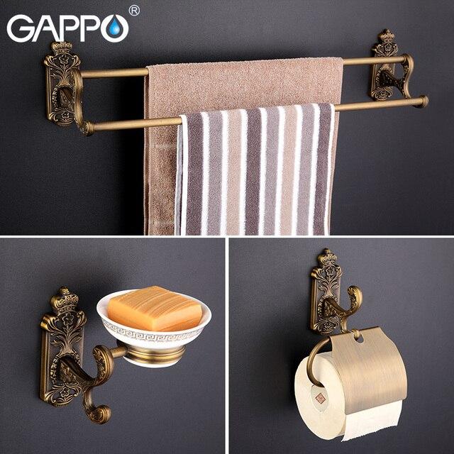 Gappo 9PC/Set Bathroom Accessories Towel Bar Paper Holder Toothbrush Holder  Glass Shelf Toilet Brush