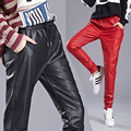 2016 New Arrival PU Leather Pants Women's Fashion Harem Pants Casual Solid Leather Trousers  Loose Capris P8140
