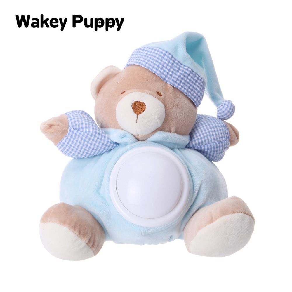 60+ Appease Soft Music Contained Placating LED  Teddy Bear Doll For New Born Baby Sleeping