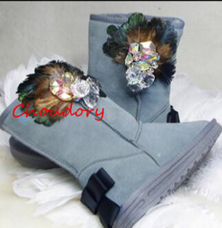 Choudory Hot Gray Genuine Leather Mid-Calf Boots Butterfly-Knot Crystal Women's Shoes Round Toe Flower Flat With Snow Boots new arrival superstar genuine leather chelsea boots women round toe solid thick heel runway model nude zipper mid calf boots l63