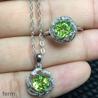 KJJEAXCMY exquisite jewelry 925 pure silver inlaid natural olivine ladies jewelry set rings pendant 2 pieces
