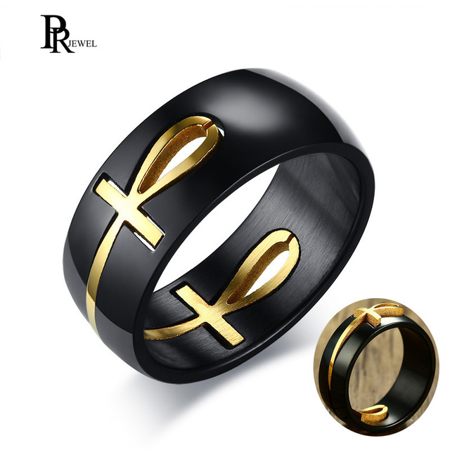 Mens Cut out Ankh Egyptian Cross Rings Two Tone Stainless Steel Detachable Allah Black Religious Male Anel