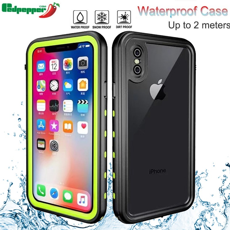 For iphone XS Max XR Original Redpepper Waterproof IP68 Underwater 2m Life Water Proof Shockproof Hard Case For iphone X XS