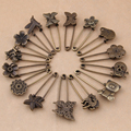 4pcs/lot Bronze Plated Flower,Owl,Bird ,Heart,StarJewelry findings Safety Pin Hot Selling