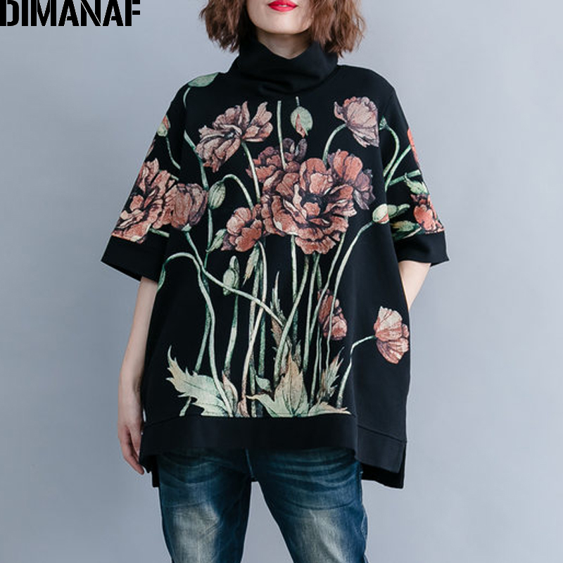 DIMANAF Women Hoodies Sweatshirts Plus Size Tops Black Female Turtleneck Pullover Autumn Thinken Cotton Loose 2019 Print Floral