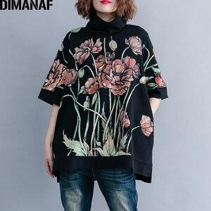 Image 1 - DIMANAF נשים נים חולצות בתוספת גודל חולצות שחור נשי גולף סוודר סתיו Thinken כותנה Loose 2019 הדפסת פרחוני