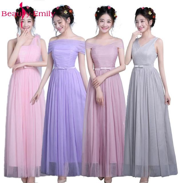 Beauty Emily Long Pink Champage Grey Purple Bridesmaid Dresses 2017 A