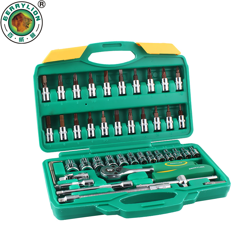 BERRYLION 46pcs 1/4'' Socket Set Ratchet Torque Wrench For Auto Car Repair Tool Set Combination Kit Hand Tools made in taiwan high quality pard 62pcs 3 8ratchet wrench set auto repair tool set screwdrivers heads hand tools combination