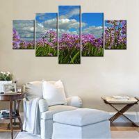 בד הדפסת ציור גדול נוף פסטורלי פרח סגול באיכות גבוהה חדר תפאורה קיר פוסטר אמנות קישוט בית Drop