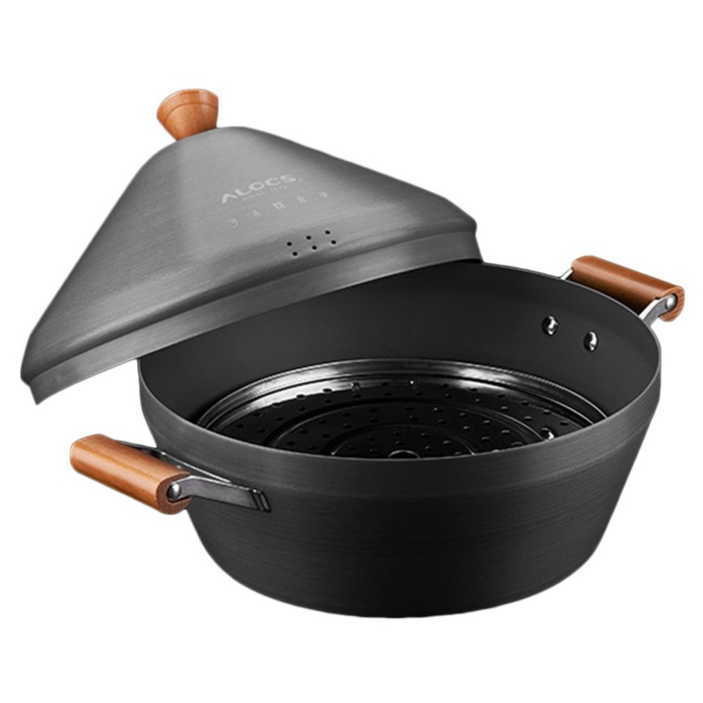 ALOCS CW-C37 Outdoor Camping Pot Large Stream Pot Portable Hot Pot With Wood Handle Travel Pot For 8-10 People Hot alocs cw k05 handy portable outdoor cooker pan pot w whisle lid deep grey green