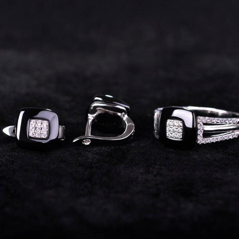 Blucome Rhinestone CZ Zircon Ring&Earring Jewelry Set For Women Hot Ceramic Brincos Studs Square Black Copper Rings Femme Bijoux