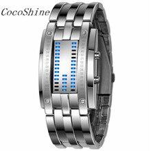 CocoShine A-838 Lujo Mujeres/Hombres Fecha LED Digital de Pulsera de Acero Inoxidable Relojes Deportivos al por mayor