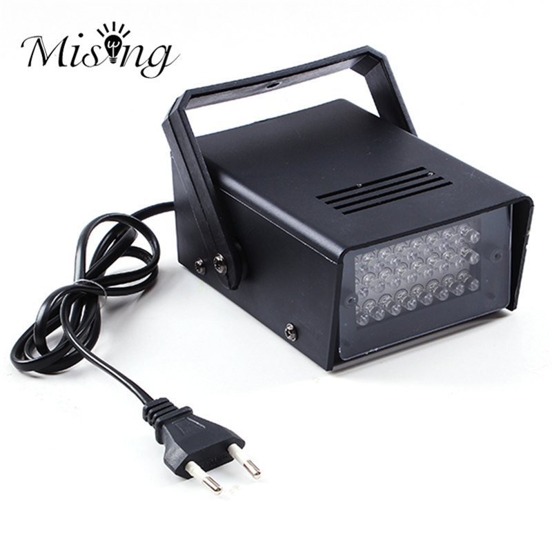 3W 24 LED Stage Lights Operated DJ Strobe Lights Disco Party Club KTV Stroboscope White Stage Lighting Effects EU Plug AC220V rg mini 3 lens 24 patterns led laser projector stage lighting effect 3w blue for dj disco party club laser