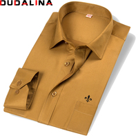 Dudalina Men Shirt 2018 Long Sleeve Fashion Classical Solid Striped Twill Male Formal Work Shirts Brand