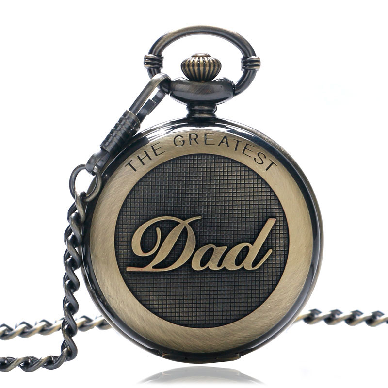 Vintage The Greatest Dad Pocket Watch Chain Pendant Quartz Pocket Watch Best Gift for Dad Father's Day Present from Duaghter/Son european and american movies aladdin and the magic lamp quartz pocket watch do the old flip quartz watch chain table ds274