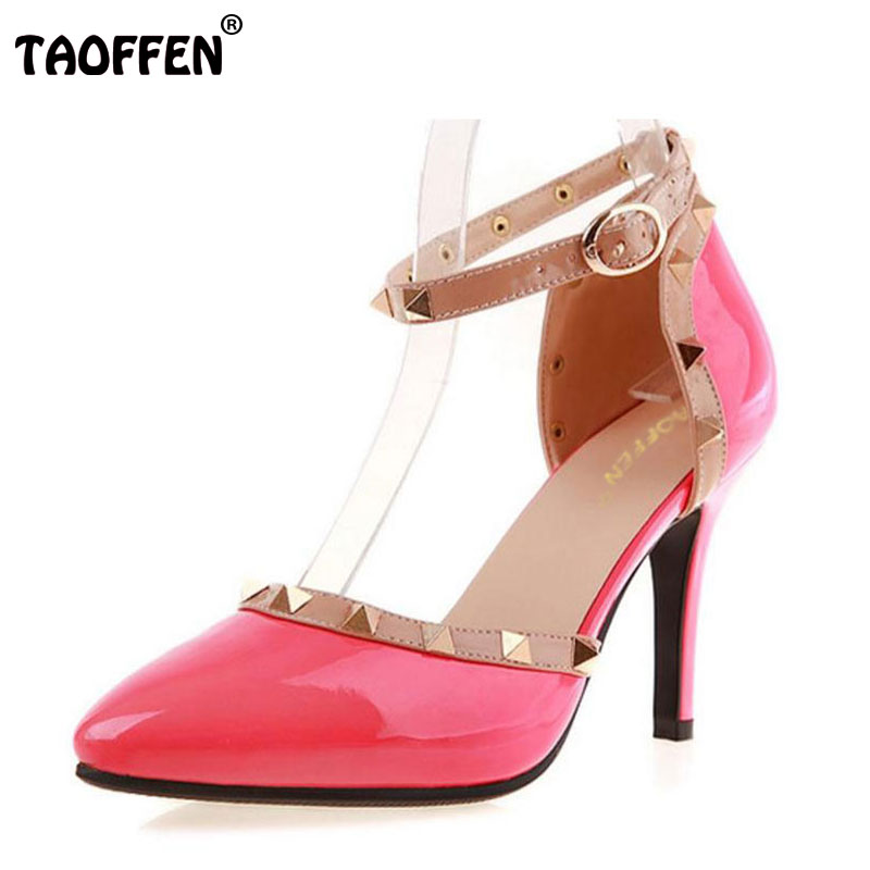 TAOFFEN free shipping genuine leather quality high heel shoes women sexy dress fashion lady pumps R3429 hot sale EUR size 31-42 free shipping candy color women garden shoes breathable women beach shoes hsa21