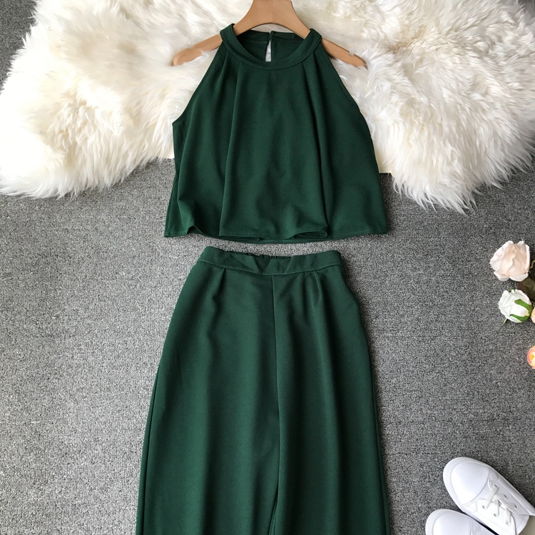 HTB1fEDVVCzqK1RjSZPcq6zTepXa1 - two piece set women fashion sexy short top and long pants casual sleeveless Elastic high waist female summer festival clothing