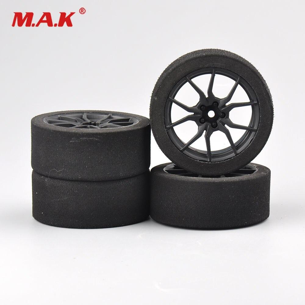 4Pcs/Set Racing Foam Tire Wheel Rims Set For HSP HPI 1/10 On-road RC Car 12mm Hex RC Racing Cars Accessories