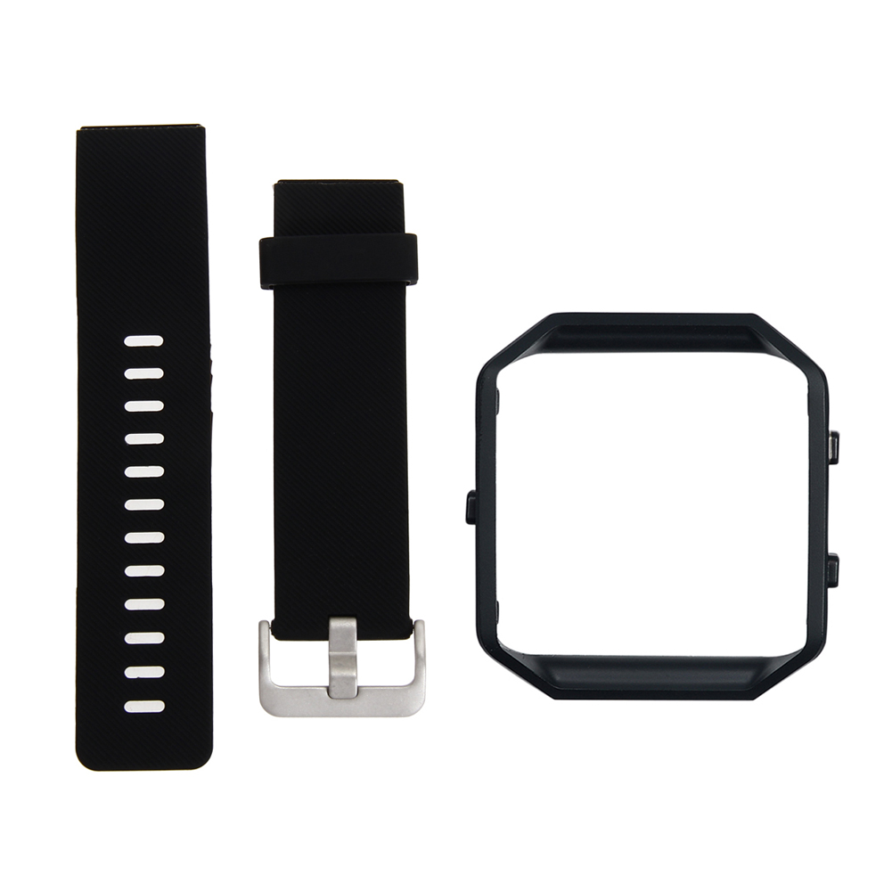 2.3cm width  Black metal Frame+Soft Silicone wrist Watch band Replace Sport Stra